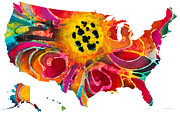 Wall Art Posters - United States of America Map 3 - Colorful USA Poster by Sharon Cummings