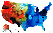 Patriotism Painting Posters - United States of America Map 4 - Colorful USA Poster by Sharon Cummings