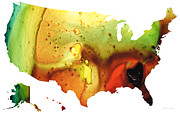 United States Of America Map 5 - Colorful Usa Print by Sharon Cummings