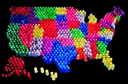 United States Map Framed Prints - United States of Lite Brite Framed Print by Benjamin Yeager