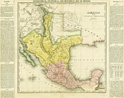 Cartography Mixed Media Prints - United States of Mexico - 1822 Print by Pg Reproductions