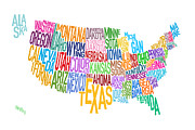 Typography Map Prints - United States Text Map Print by Michael Tompsett