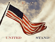 Waving Flag Framed Prints - United We Stand Framed Print by Tony Grider