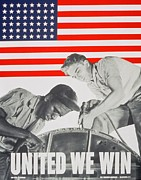 Flag Painting Prints - United We Win US 2nd World War Manpower Commission Poster Print by Anonymous