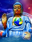 Statue Portrait Mixed Media Prints - Universal Buddha Print by Khalil Houri