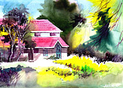 Landscape. Scenic Drawings Framed Prints - University 2 Framed Print by Anil Nene