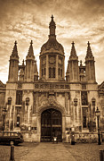 Entrance Door Photo Metal Prints - University Entrance Door Sepia Metal Print by Douglas Barnett