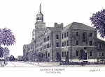 Historic Buildings Drawings Mixed Media - University of Cincinnati by Frederic Kohli