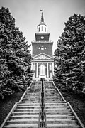 Steeple Framed Prints - University of Cincinnati McMicken Hall Black and White Picture Framed Print by Paul Velgos