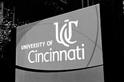 Ohio Red Framed Prints - University of Cincinnati Sign Black and White Picture Framed Print by Paul Velgos