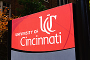 Ohio Red Prints - University of Cincinnati Sign Print by Paul Velgos