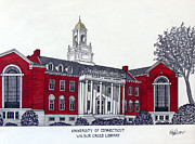 College Buildings Drawings Mixed Media Originals - University of Connecticut by Frederic Kohli