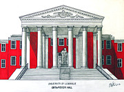 Famous University Buildings Drawings Art - University of Louisville by Frederic Kohli