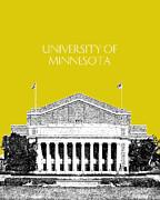 University Of Minnesota 2 - Northrop Auditorium - Mustard Yellow Print by DB Artist