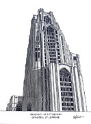 Famous University Buildings Drawings Art - University of Pittsburgh by Frederic Kohli