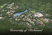 Birdseye Drawings Metal Prints - University of Richmond Metal Print by Rhett and Sherry  Erb