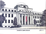 Famous University Buildings Drawings Posters - University of South Carolina Poster by Frederic Kohli