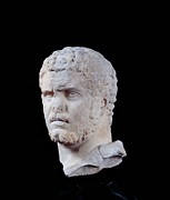 Curly Hair Framed Prints - Unknown Artist, Portrait Of Caracalla Framed Print by Everett