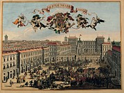 Castle Gates Framed Prints - Unknown, Turin, Piazza Castello, 17th Framed Print by Everett