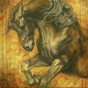 Horse  Paintings - Unleashed by Silvana Gabudean