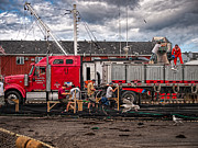 Unloading Fish And Mending Nets Print by Bob Orsillo
