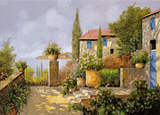 Terrace Framed Prints - Uno Sguardo Sul Mare Framed Print by Guido Borelli