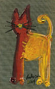 More Ideas Prints - Uno. The Orange and Yellow Cat Print by Cathy Peterson
