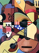 Acoustic Guitar Digital Art Metal Prints - Unpluged Metal Print by Anthony Falbo
