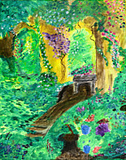 Benches Paintings - Untamed Garden  by Katy  Scott
