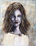 Portrait Of Woman Mixed Media Framed Prints - Untitled Framed Print by Jill Van Iperen