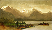 Famous Artists - Untitled mountains and lake by Albert Bierstadt
