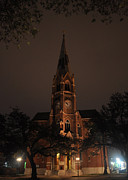 Church Pyrography - untitled - Napoleons Church at Night by Brandon McCauley