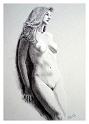 Original Print Drawings Originals - Untitled nude by Joseph Ogle