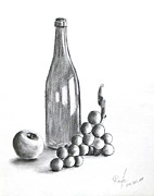 Glass Bottle Drawings Framed Prints - Untitled Still Life Framed Print by RB McGrath