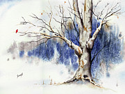 Cardinal Paintings - Untitled Winter Tree by Sam Sidders