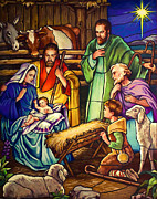 Stain Glass Christmas Posters - Unto Us A Son Is Given Poster by Jean Hildebrant