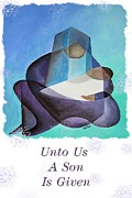 Saint Joseph Digital Art Framed Prints - Unto Us A Son Is Given  Framed Print by Tracey Harrington-Simpson