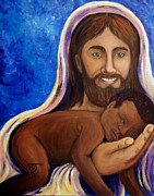 Smiling Jesus Painting Posters - Unto You A Godly Son Is Given Poster by Pamorama Jones