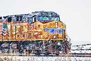 Bill Kesler Photos - UP 5854 In The Snow by Bill Kesler