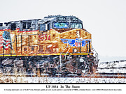 Bill Kesler Prints - UP 5854 In The Snow with description Print by Bill Kesler
