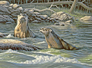 Up For Air - River Otters Print by Paul Krapf