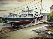 Cartoonist Painting Framed Prints - Up for repairs in Perkins Cove Framed Print by Scott Nelson