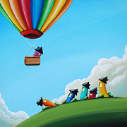 Hot Air Balloon Painting Posters - Up Up and Away Poster by Cindy Thornton