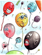 Balloon Drawings - Up Up and Away by Cristophers Dream Artistry