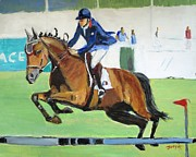 Jockey Paintings - Up Up and Away by Judy Kay
