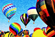 Hot Air Balloon Painting Posters - Up Up and Away Poster by Michael Pickett