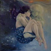 Blue And Gold Paintings - Upon Infinity by Dorina  Costras