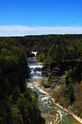 Mid West Landscape Art Posters - Upper and Middle Waterfalls In Letchworth State Park Poster by Paul Ge