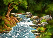 Serenity Scenes Landscapes Paintings - Upper  Bend by Shasta Eone