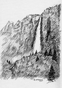 Yosemite Drawings - upper falls in Yosemite by Al Intindola